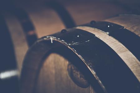 Retro Wine Barrels with Vintage Film Style Filter 免版税图像 - 36582422
