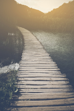 hiking path: Retro Hiking Path with Sunlight with Instagram Style Vintage Filter