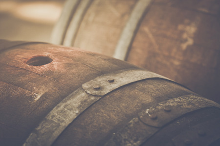 Wine Barrel outside in Retro Style Stock Photo