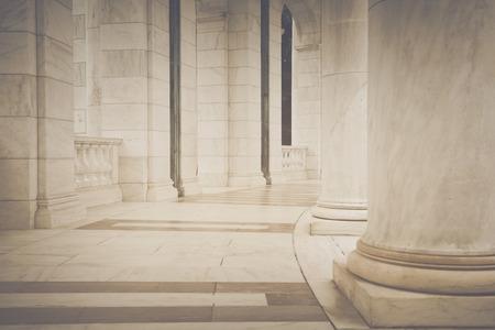 Pillars in a Hallway in Retro Instagram Style