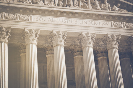 United States Supreme Court Pillars of Justice and Law  Stock Photo