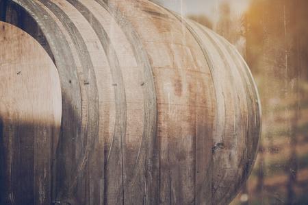abstract liquor: Wine Barrel outside in Retro Stock Photo