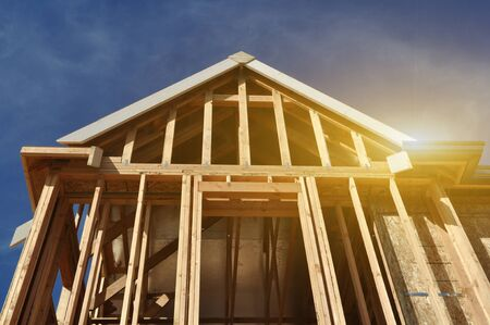 wooden joists: Home Under Construction with Sunlight