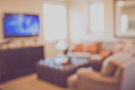 retro tv: Blurred Modern Living Room with Television Stock Photo