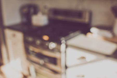 rustic kitchen: Blurred Kitchen Stove with Retro