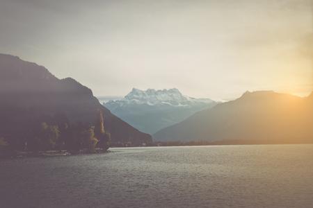 vevey: Lake Geneva Switzerland in winter
