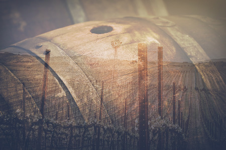 Wine Barrel outside in Retro Stockfoto