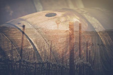 grungy background: Wine Barrel outside in Retro Stock Photo