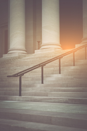 academia: Pillars and Stairs to a Courthouse with Vintage Syle Filter