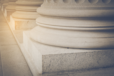 Pillars and Stairs to a Courthouse with Vintage Style Filter Stock Photo