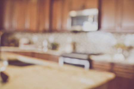 Blurred Kitchen with Retro Filter Imagens - 51377680