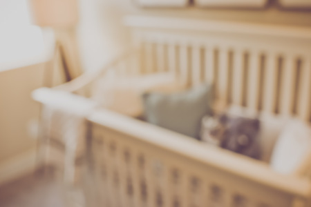 Blurred Baby Crib with Retro Filter