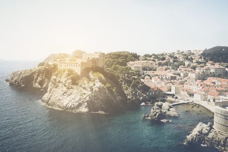 emerald city: Dubrovnik Croatia with Vintage Retro Filter Stock Photo