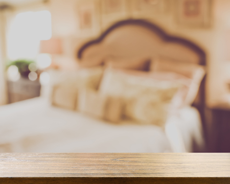 dormitory: Blurred Master Bedroom with Retro Style Filter with White Bedding and Windows Stock Photo