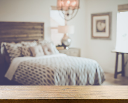 Blurred Bedroom with Bed applying Retro Style Filter 版權商用圖片