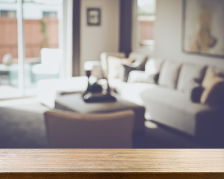 Blurred Modern Living Room with Retro Style Filter