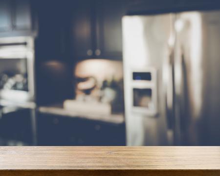 refrigerator kitchen: Blurred Modern Kitchen with Retro Style Filter