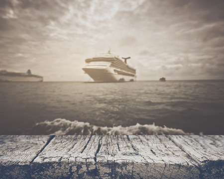 Blurred Cruise Ship with Vintage Style Filter