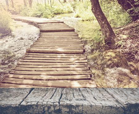Hiking Path on a Wooden Trail with Retro Vintage Style 版權商用圖片