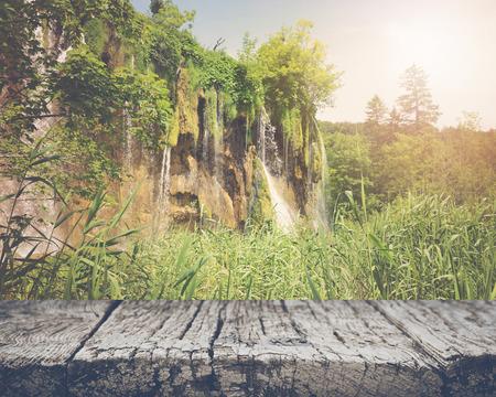 retro hiking path with sunlight