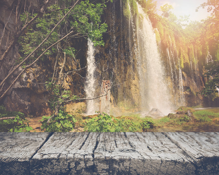 Retro Waterfall with Sunlight with Vintage Film Style