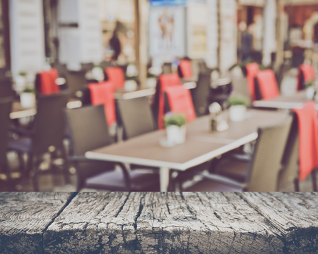 Blurred Empty Cafe in European City