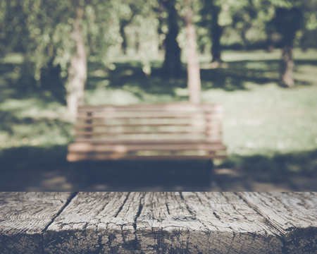 Blurred Park Bench with Nature Background