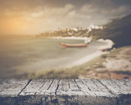 Blurred Boat on Beach with Vintage Filter