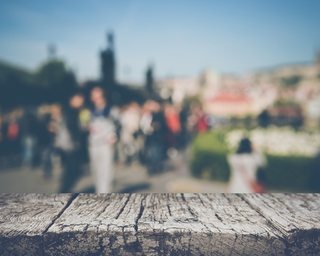 Blurred Toursits Outside in Prague, Czech Republic