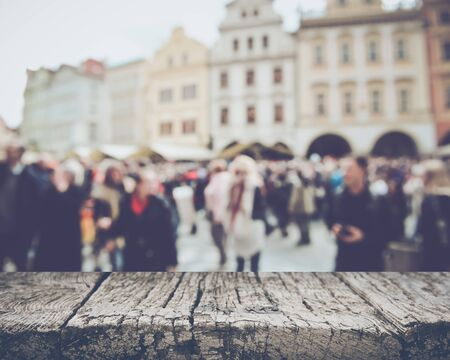 tourist: Prague in Czech Republic with Blurred Tourists