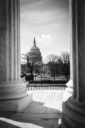 gerechtigkeit: View of Capitol Hill through the Supreme Court