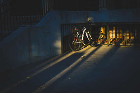 A standing bike in the evening