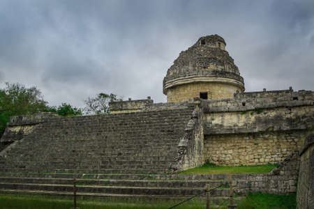 proto: El Caracol (The Snail) is located to the north of Las Monjas. It is a round building on a large square platform. It gets its name from the stone spiral staircase inside. It is theorized to have been a proto-observatory with doors and windows aligned to