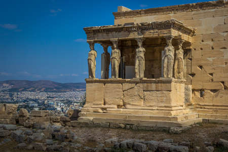 The Porch of the Caryatids at the Erechtheion on the Acropolis of Athens, Greece view. Stock Photo