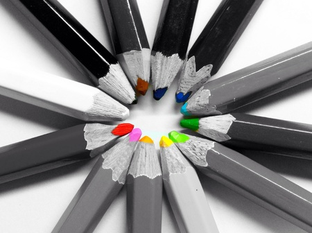 grayscale: Color pencils grayscale Stock Photo