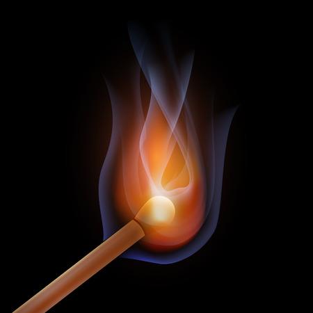 night stick: Fire match stick on background