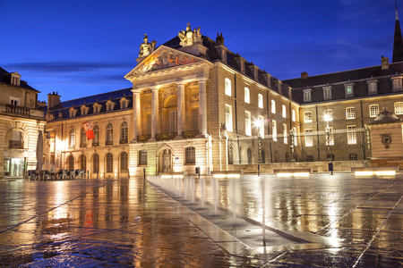 liberation: Liberation Square and the Palace of Dukes of Burgundy in Dijon, France.