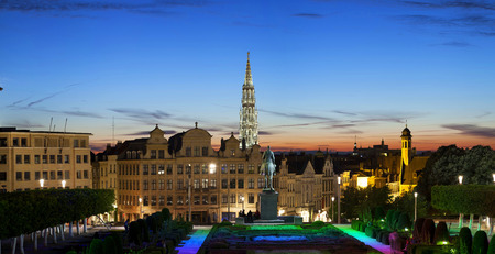 Evening panorama of Brussels from Monts des Arts