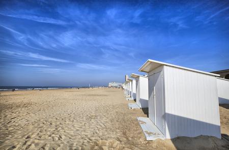 White beach cabins at Ostend, Belgium