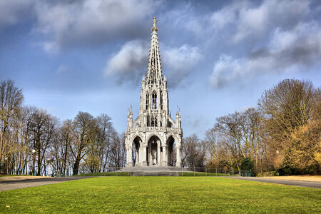 leopold: The monument Leopold I in the neo-Gothic style in Laeken park, Brussels, Belgium