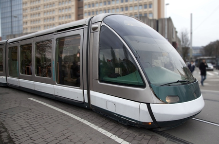 Futuristic tram on the street in Strasbourg, France Stockfoto