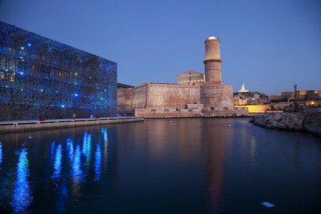 Tower of Fort Saint Jean and museum of  European and Mediterranean Civilizations in Marseille old port, France