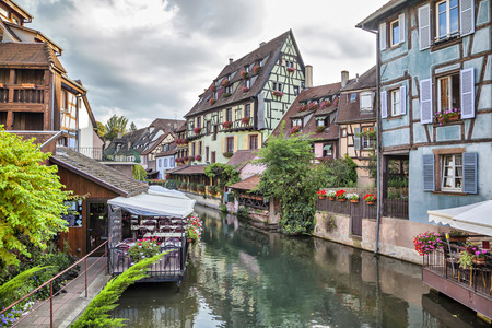 colmar: Colorful traditional french houses on the side of river in Petite Venise, Colmar, France Stock Photo