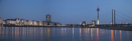 Night panorama of Dusseldorf with Rheinturm tower and Rheinkniebrucke Bridge Stock Photo - 32039741