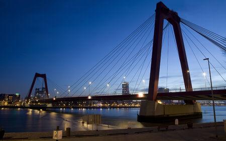 maas: Willemsbrug Bridge in Rotterdam on the Nieuve-Maas River, Rotterdam, Netherlands Stock Photo