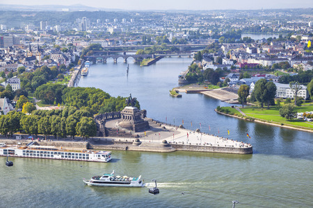 rhein: German Corner (Deutsches Eck) - monument at the confluence of Rhine and Mosel rivers in Koblenz, Germany