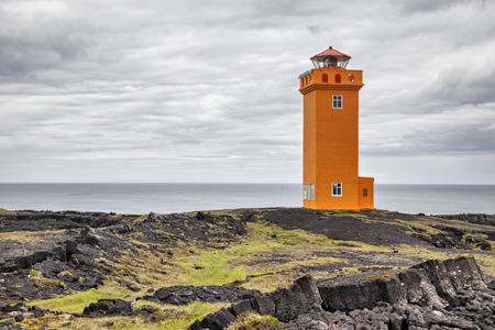Saxholsbjarg orange lighthouse in Snaefellsnes, Iceland
