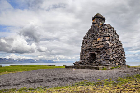 saga: Bardar Saga Snaefellsnes Statue, west Iceland Stock Photo