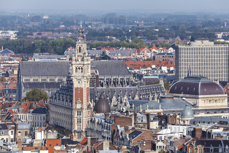 Aerial view on the centre of Lille with Chamber of commerce building on the main point