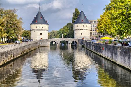 Medieval Broel Towers and old bridge in Kortrijk city, Belgium